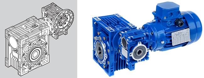 双段蜗轮减速机之规格,安装尺寸均与图片